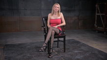 Bound blonde Rain DeGrey doubled over and deepthroating dick