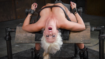 Tan fit blonde Holly Heart bound on a sybian