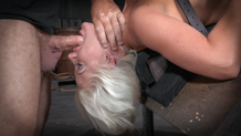 Toned blonde Holly Heart shackled to a sybian