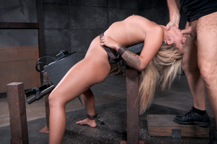 Bound blonde Madelyn Monroe deepthroats on a sybian
