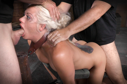 Drooling deepthroat by Holly Heart as she is roughly fucked
