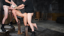 Bound blonde MILF Holly Heart taken from both ends