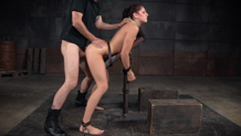 Shackled slut Nikki Knightly deepthroats the dick