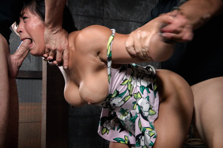 Big breasted Asian Mia Li choke fucked in bondage
