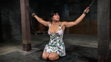 Chained Mia Li taken from both ends