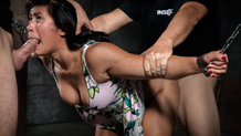 Deepthroating Mia Li facefucked in chains