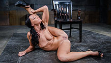 Bound slut London River sucks BBC as she is fucked