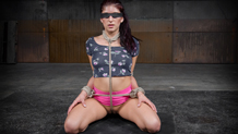 Bound and blindfolded Nikki Knightly deepthroats dick