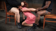 Toned redhead Savannah Fox sucks dick while on her knees