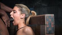 Tan blonde Stevie Smith in strict breast bondage