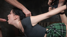 Shackled and blindfolded Aria Alexander worships the dick
