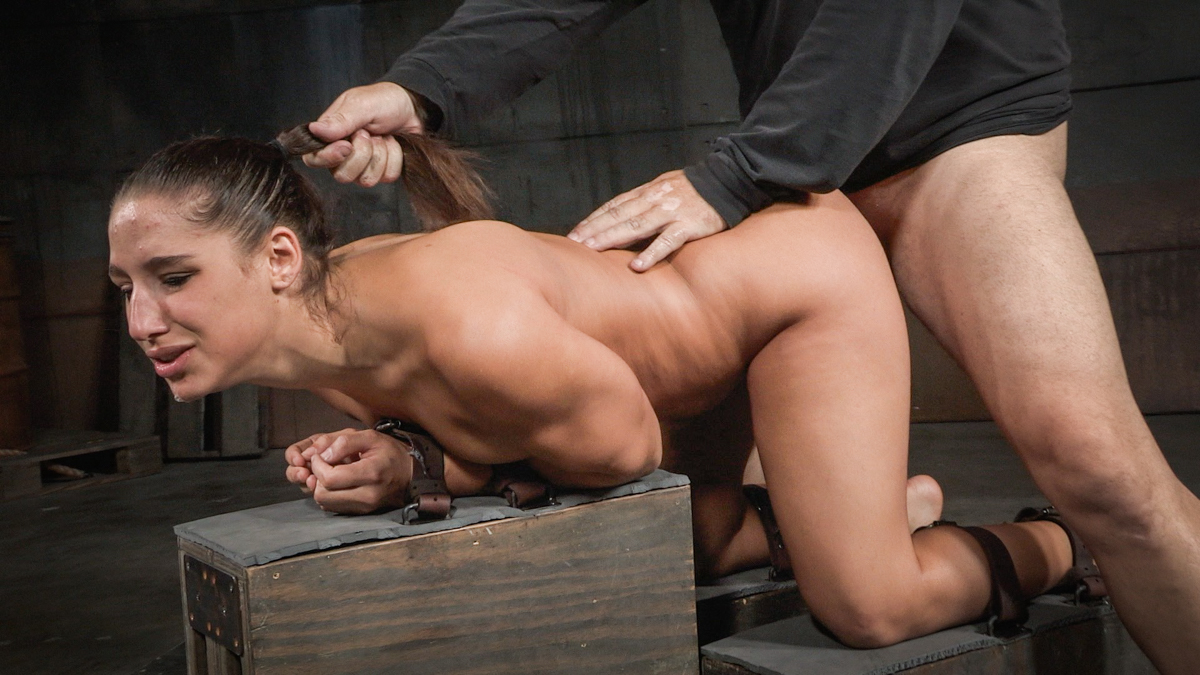 Bound Abella Danger chokes on hard cock while fucked