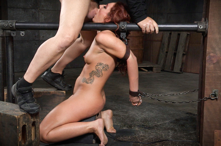 Chained sybian slut Savannah Fox deepthroats