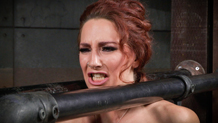 Redheaded Savannah Fox cums hard in bondage
