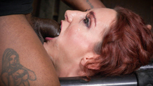 Sexy redhead Savannah Fox chokes on huge black cock