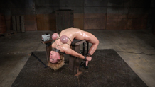 Shackled sex slave Darling assfucked on machine