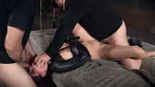 Bound Nikki Knightly is vibrated as she deepthroats