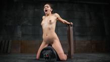 Restrained Sara Luvv sucks dick on a sybian