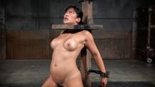 Shackled Mia Li deepthroats hard cock on a sybian