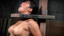 Drooling Mia Li facefucked in bondage by big dick