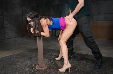 Blindfolded sex slave Kalina Ryu roughly fucked in bondage