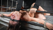 Tiny little blindfolded Sara Luvv suffers in bondage