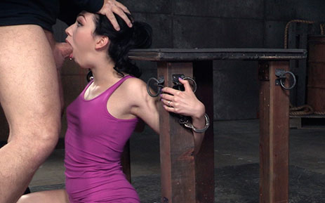 Handcuffed beauty Aria Alexander facefucked by hard cock