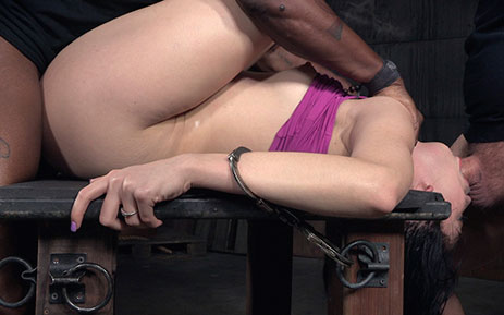 Handcuffed hottie Aria Alexander deepthroats while fucked