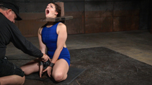 Shackled Endza's shaved pussy is vibrated