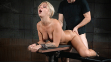 Tan and sexy bound blonde Madelyn Monroe cums hard on dick
