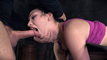 Bound Aria Alexander deepthroats while fucked by BBC