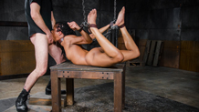 Sexy Kira Noir gets choked in bondage