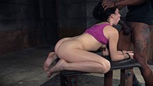 Handcuffed Aria Alexander deepthroats while fucked with BBC