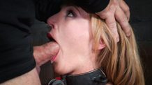 Messy and drooling Mona Wales deepthroats dick