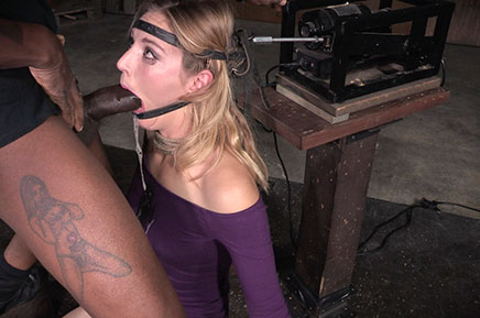 Drooling Mona Wales deepthroats BBC in the blowjob machine