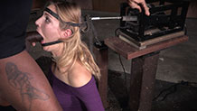 Beautiful Mona Wales bound in the blowjob machine