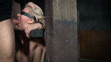 Blindfolded and bound Jeanie Marie ready for the using
