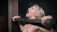 Blindfolded Jeanie Marie throat trained on hard cock