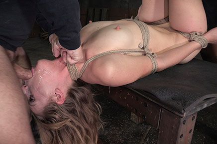 Messy Mona Wales deepthroats in bondage