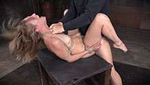 Deepthoating Mona Wales worships the cock in bondage