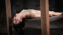 Shackled Aria Alexander cums hard on a sybian