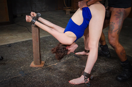 Bent over and shackled Endza Adiar roughly fucked by BBC
