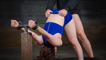 Endza Adiar throat trained in a strict shackled strappado