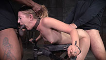 Sexy bound blonde Mona Wales chokes on hard cock