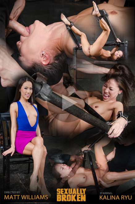 Shackled Asian Kalina Ryu chokefucked in bondage