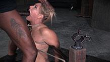 Drooling Angel Allwood cums hard in bondage