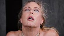 Bound Angel Allwood does brutal deepthroat