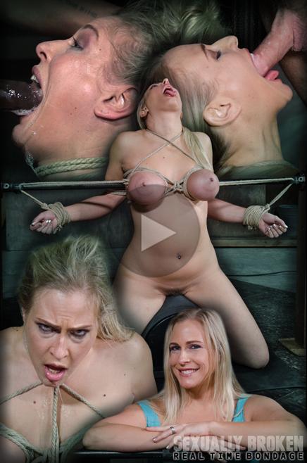 Busty blonde Angel Allwood deepthroats on sybian