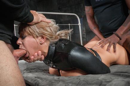 Busty bound Alyssa Lynn spit roasted by two hard cocks