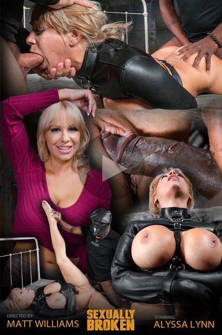 Busty blonde Alyssa Lynn BBC fucked in a straightjacket